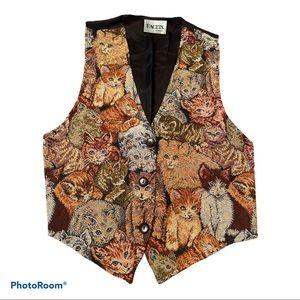 Facets amazing vintage cat vest size medium